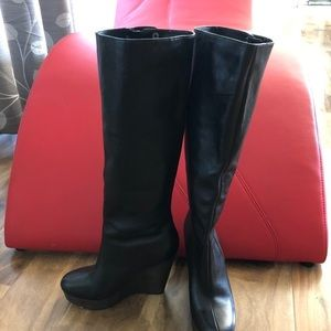 Coach Knee High Leather Wedge Boots